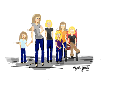 Me and My 5 Girls drawn in Drawquest