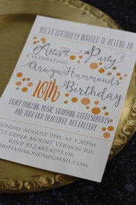 Party Invitation with fun orange bubbles and gems.