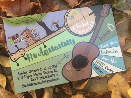 Hand drawn Hootenanny invitation for Isobel.