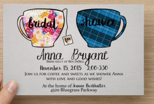 Hand Drawn his and hers tea/coffee mugs for Bridal Shower invites.