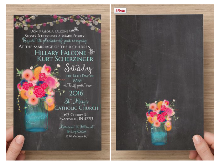 Hand drawn bright colored floral in a jar with light string details on Wedding Invitation with chalkboard background.