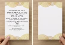 Hand drawn over gold leaf background. Simple stunning wedding invitation.