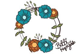 Wreath in Blue & Orange