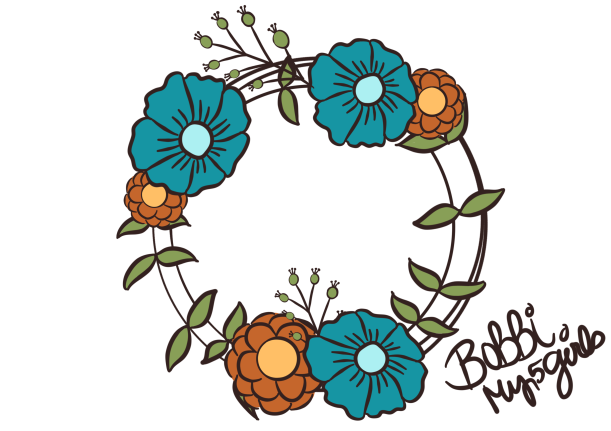 Wreath in Blue & Orange