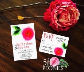 Single HotPink:Red Watercolor Flower Invitation Suite Design