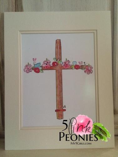 Hand-drawn Watercolor Cross Floral Print
