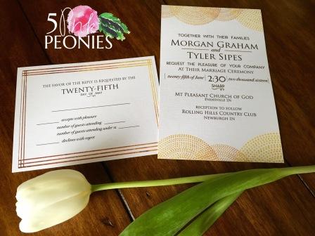 Modern Gold Lace Hand-Drawn Wedding Invitation