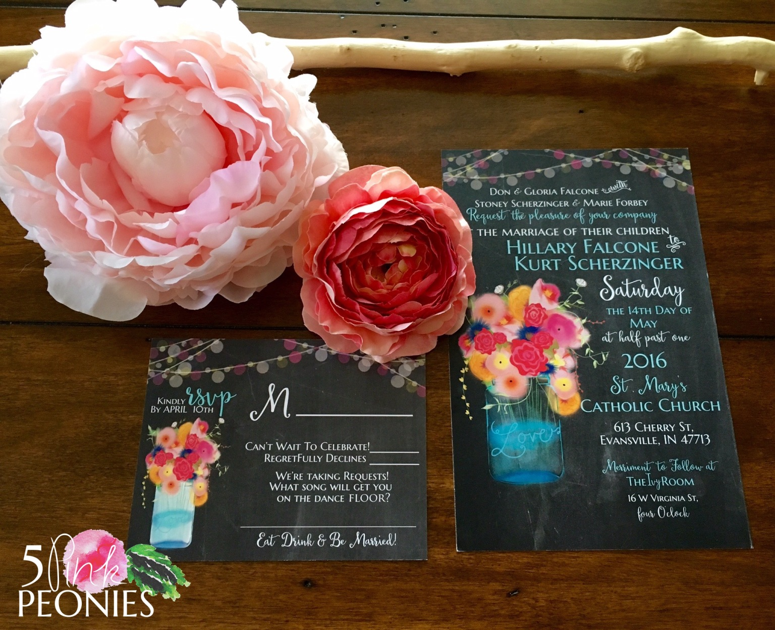 Hand-drawn Bright Floral Invitations