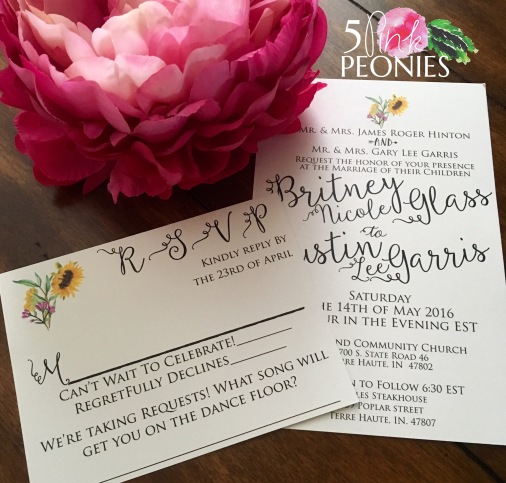 Hand-drawn Sunflower with Wildflower invitations