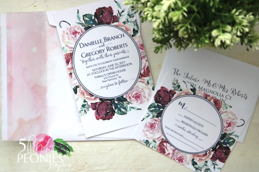 watercolor rose and pink floral invites