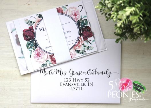 watercolor rose invitations